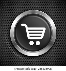 Shopping Cart on Black Round Button
