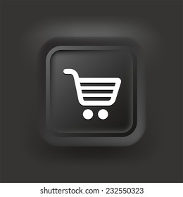 Shopping Cart on Black Square Button