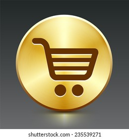 Shopping Cart on Gold Round Button