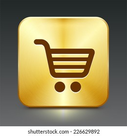 Shopping Cart on Gold Square Button