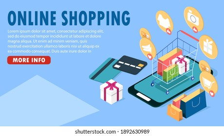 Shopping cart on smartphone for online shopping concept, e-commerce banner design in isometric view, online payment and purchase via credit card