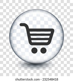 Shopping Cart on Transparent Round Button
