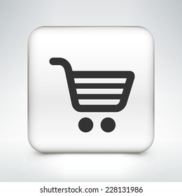 Shopping Cart on White Square Button