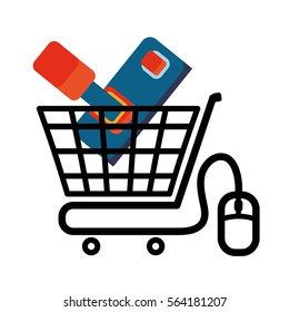 shopping cart online game mouse technology virtual vector illustration eps 10