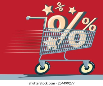 Shopping cart & percent signs