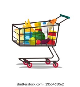 Shopping cart with products vector illustration. Buying food. Supermarket, grocery store trolley. Fresh fruits and vegetables purchase. Dairy products, cereals. Healthy diet, nutrition