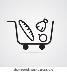Shopping cart with purchases for illustration of online store, supermarket, wide range of goods, grocer. Carved silhouette flat icon, simple vector design.