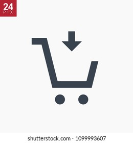 shopping cart with put down line vector minimalistic icon