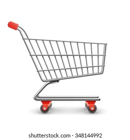 Shopping cart realistic decorative icon isolated on white background vector illustration
