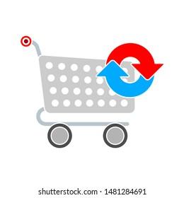 shopping cart refreshing icon. flat illustration of shopping cart refreshing vector icon. shopping cart refreshing sign symbol