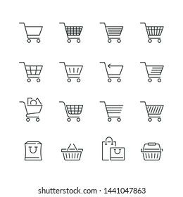 Shopping cart related icons: thin vector icon set, black and white kit