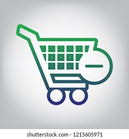 Shopping Cart with Remove sign. Vector. Green to blue gradient contour icon at grayish background with light in center.