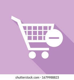 Shopping Cart with Remove sign. White Icon with long shadow at purple background. Illustration.