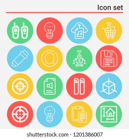 Shopping cart, robot, profile, pencil, blueprint, cube, save, paste, lightbulb, target icon set suitable for info graphics, websites and print media and interfaces