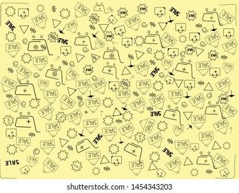 shopping cart sale seamless pattern