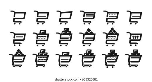 Shopping cart, set icons. Supermarket, grocery store, pushcart symbol or logo. Vector illustration