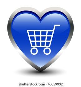 Shopping Cart Sign Heart Shape Icon