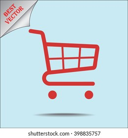 Shopping cart sign icon, vector illustration. Flat design style