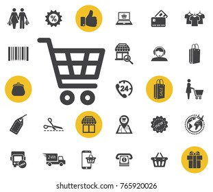 shopping cart simple icon on white background. trolley vector illustration. Simple shopping icons set. Universal shopping icon to use for web and mobile UI, set of basic UI shopping elements.