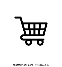 Shopping cart simple line icon. Vector object for retail design. Shopping cart pictogram in modern style.
