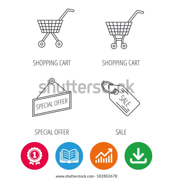 Shopping cart, special offer and sale coupon icons. Sale linear signs. Award medal, growth chart and opened book web icons. Download arrow. Vector