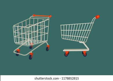 Shopping cart, Supermarket isolated trolley/cart vector illustration abstract flat design