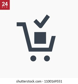shopping cart with tick line vector minimalistic icon