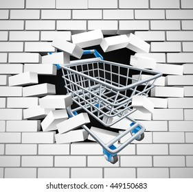 A shopping cart or trolley breaking through a white brick wall