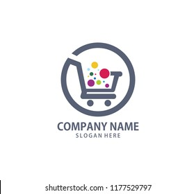shopping cart trolley with colorful bubble in it vector icon logo design template