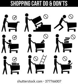 Shopping Cart Trolley Dos and Don'ts icon sign symbol pictogram vector info graphic