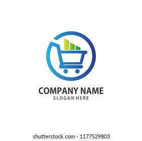 shopping cart trolley inside a circle with stem graph down step vector icon logo design template