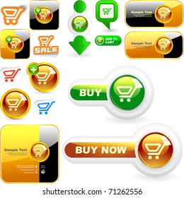 Shopping cart. Vector button for online sale. Great collection.