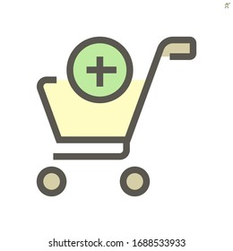 Shopping cart vector icon design for shopping graphic design elemen, 48X48 pixel perfect and editable stroke.
