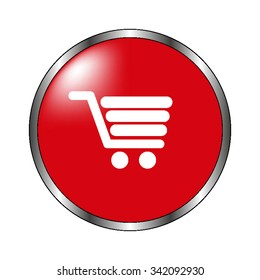 Shopping cart - vector icon on  the red button