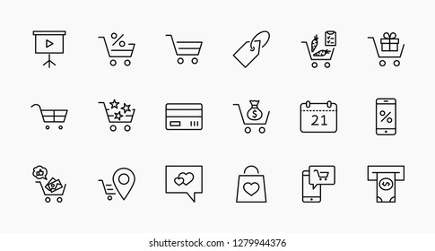Shopping Cart Vector Line Icons Set: Money, ATM, List Products, Vegetables, Bank Card, Terminal, Bag, Favorite Shopping, Gifts, Express Checkout, Mobile Shop and more. Editable Stroke. 32x32 Pixel
