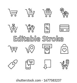 Shopping Cart Vector Line Icons Set: Money, ATM, List Products, Vegetables, Bank Card, Terminal, Bag, Favorite Shopping, Gifts, Express Checkout, Mobile Shop and more. Editable Stroke. 32x32 Pixels