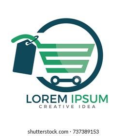 Shopping cart vector logo design. On-line shopping app icon.