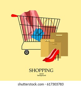 Shopping, shopping cart, vector, products, business background, abstraction