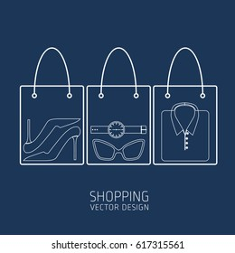 Shopping, shopping cart, vector, products, business background, icons, abstraction