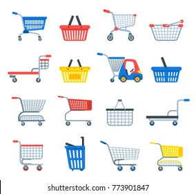 Shopping cart vector shop pushcart trolley shopper or carter with empty basket and bag buy in store illustration isolated on white background