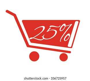 Shopping carts with a discount of 25 percent. The red truck on a white background.
