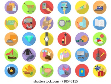 Shopping categories flat icons with long shadow, Thirty colorful on-line shopping flat icons, Vector illustration, Shopping icons set, On-line shopping flat icons illustration