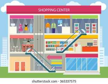Shopping center buiding design. Shopping mall, shopping center interior, restaurant and boutique, store and shop, architecture retail, urban structure commercial illustration. Supermarket shop
