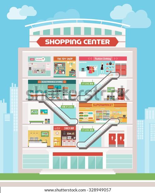 Shopping Center Building Shops Ice Cream Stock Vector