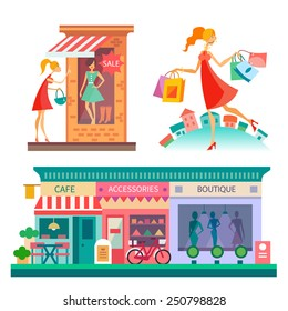 Shopping center: cafe, accessories, boutique. City scape, fashion. Girl with shopping bags. Vector flat illustrations