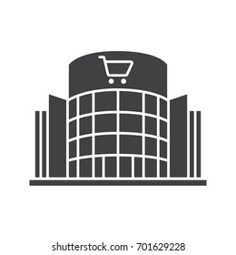 Shopping center glyph icon. Silhouette symbol. Emporium. Negative space. Vector isolated illustration