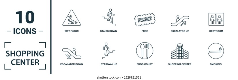 Shopping Center Icons icon set. Include creative elements stairway up, elevator, smoking, disabled, garbage icons. Can be used for report, presentation, diagram, web design.