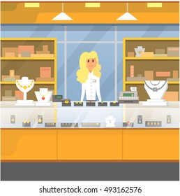 Shopping Center, jewelry store vector illustration.