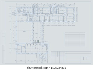 Shopping Center- supermarket and hotel, drawing, layout, plans, 3d, CAD, perspective, realistic. Vector
