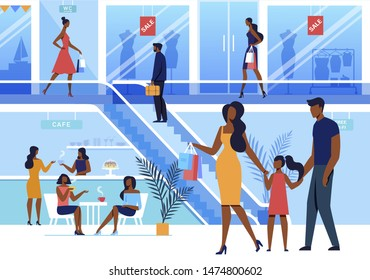 Shopping Center Visit Flat Vector Illustration. Shoppers, Customers, Consumers Cartoon Characters. Young Couple with Child at Mall. Girlfriends Drinking Coffee in Cafe. Fashion Boutique Showcase